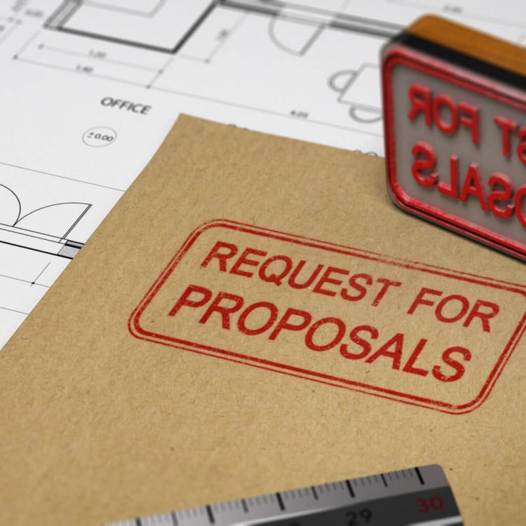 Request for proposals printed on a kraft envelop, with office supplies and rubber stamp, RFP concept. 3D illustration